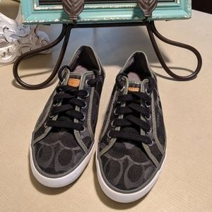Coach canvas sneaker shoe black and gray